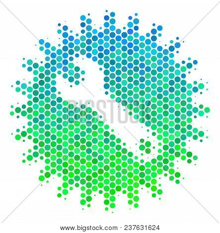 Halftone Dot Service Tools Icon. Pictogram In Green And Blue Color Hues On A White Background. Vecto