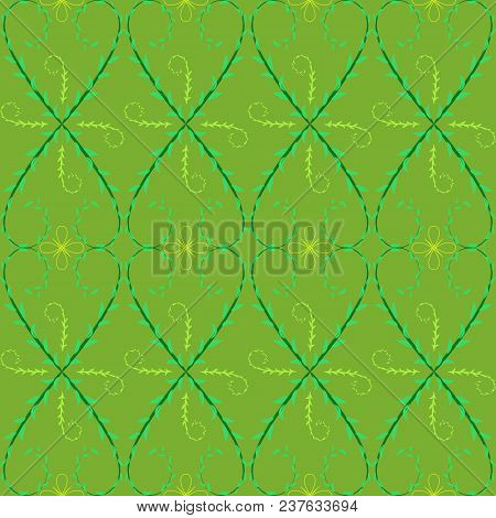 Leaf Wave Seamless Pattern With Turkus Lines On Yellow-green Background