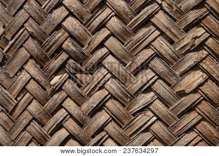 Background Texture Of Woven Bamboo Thatch