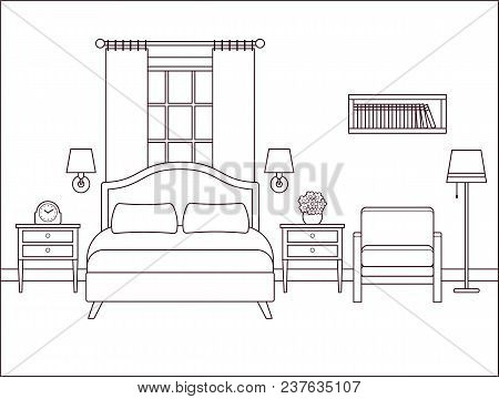 Bedroom Interior. Hotel Room With Bed And Window. Vector. Outline Illustration. Retro House In Flat
