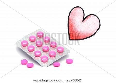 Drugs and illustrated heart on a white background