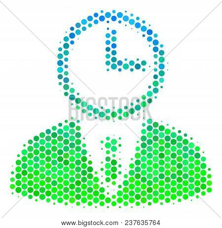 Halftone Dot Time Manager Pictogram. Icon In Green And Blue Color Tones On A White Background. Vecto