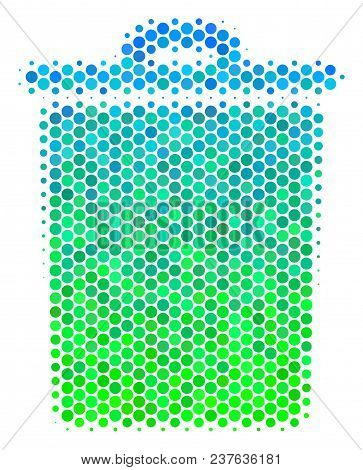 Halftone Circle Trash Bin Icon. Icon In Green And Blue Color Hues On A White Background. Vector Coll