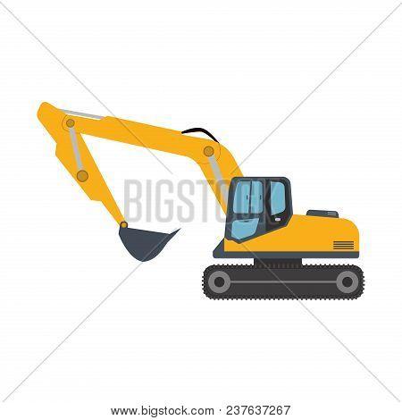 Excavator Icon Equipment Machine. Isolated Excavate Shovel Bulldozer Loader Scoop Transportation Dig