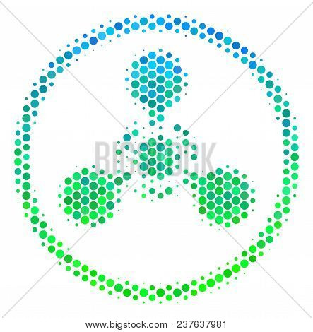 Halftone Round Spot Wmd Nerve Agent Chemical Warfare Icon. Icon In Green And Blue Color Tones On A W