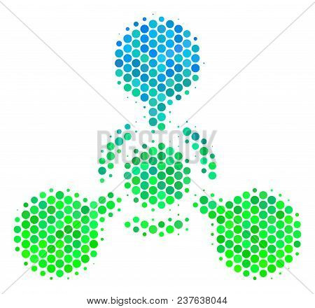Halftone Dot Wmd Nerve Agent Chemical Warfare Pictogram. Pictogram In Green And Blue Color Tones On