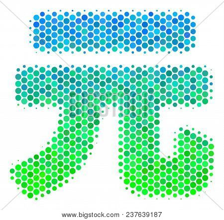 Halftone Dot Yuan Renminbi Icon. Icon In Green And Blue Color Hues On A White Background. Vector Con