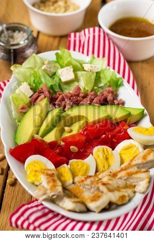 American Garden Salad Cobb Salad With Fresh Vegetables, Bacon And Chicken