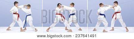 Collage Athletes Are Training Blows And Karate Blocks