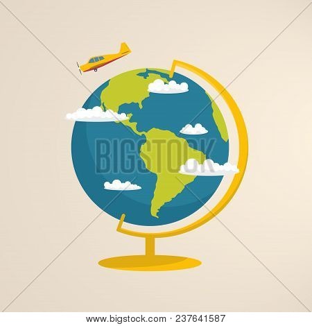 World Globe With Clouds And Airplane In Flat Style.