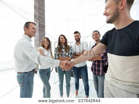 closeup of handshake business people