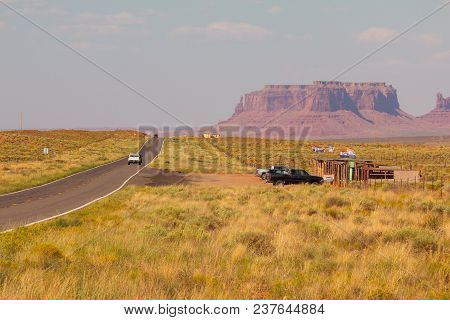 Arizona, Usa- September 01, 2017: Highway In Monument Valley, Utah And Arizona. Picture With Road An