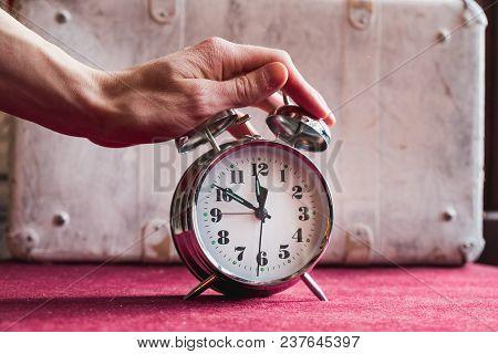 Hand Man Turns Off The Alarm Clock, Awakening.