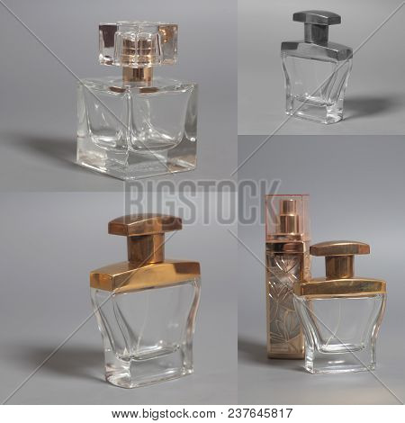 Men's And Woman Perfume In Bottles Collage