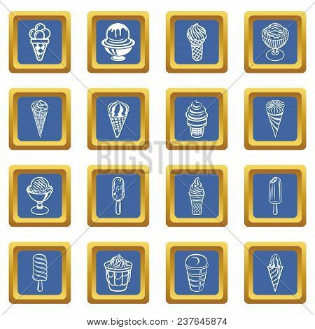 Ice Cream Icons Set Vector Blue Square Isolated On White Background