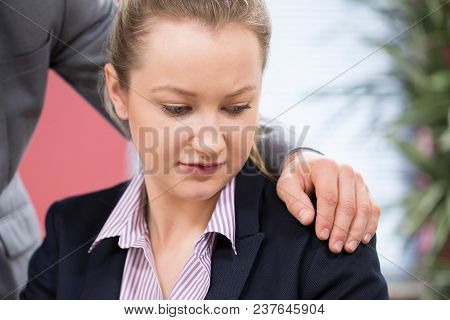 Businessman Sexually Harassing Female Colleague In Office