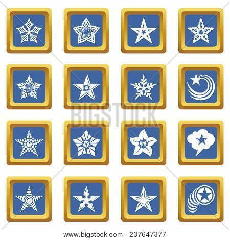 Decorative Stars Icons Set Vector Blue Square Isolated On White Background