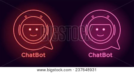 Neon Chat Bot In Red And Pink Color. Vector Illustration Of Virtual Chatbot With Speech Bubble Consi
