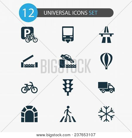Shipment Icons Set With Traffic Light, Monorail, Air Balloon And Other Parking For Bike Elements. Is