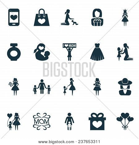 Mothers Day Icon Design Concept. Set Of 20 Such Elements As Protect, Announcement And Balloon. Beaut