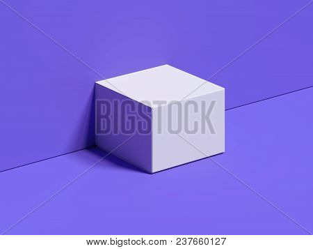 White Square Box Stands Next To The Violet Wall And On Violet Floor With Shadows, 3d Rendering