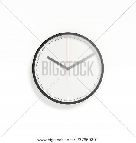 Realistic White Blackframed Clock Isolated On White Background, 3d Rendering