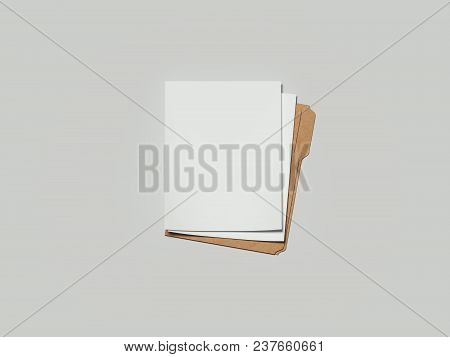 Cardboard Opened Folder With Paper, 3d Rendering