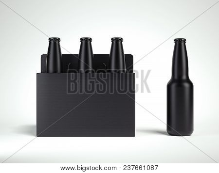 3 Black Isolated Glass Beer Bottles In Black Box On Light Grey Background, 3d Rendering