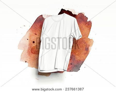 White Realistic T-shirt On White Background With Light Orange Smear, 3d Rendering