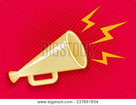 Vector Vintage Poster With Retro Megaphone On Red Halftone Background. Vector Megaphone In Engraving