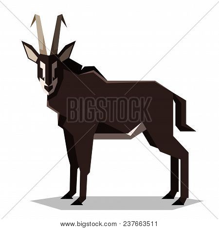 Vector Image Of The Flat Geometric Sable Antelope