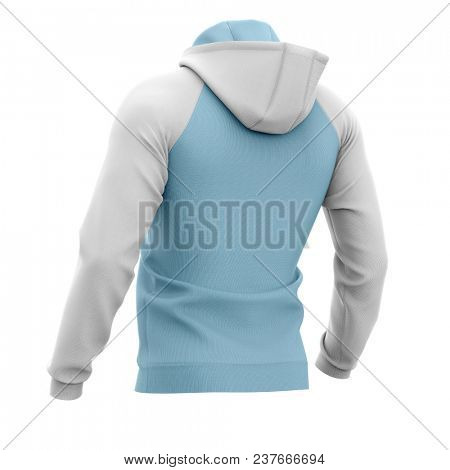 Men's hoodie. Sweatshirt with pocket. Half-back view. 3d rendering. Clipping paths included: whole object, hood, sleeve, rope tie, pocket. Isolated on white background.