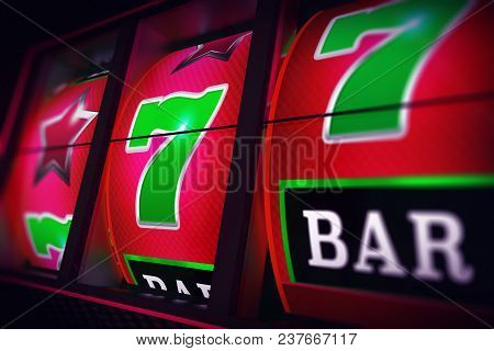 Lucky Slot Jackpot Spin 3d One Handed Bandit Casino Game Render Illustration.