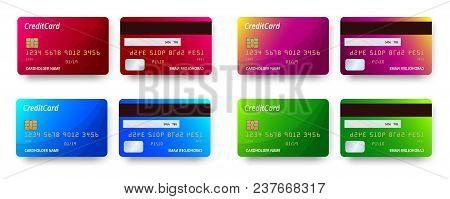 Templates Realistic Detailed Credit Cards Set Design. Vector Plastic Credit Card Or Debit Card.