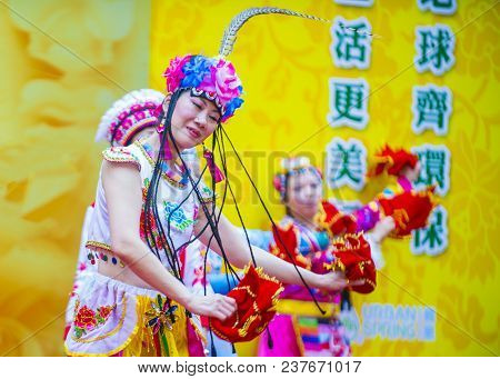 Hong Kong - March 04 : Participants In The 14th Tai Kok Tsui Temple Fair In Hong Kong On March 04 20