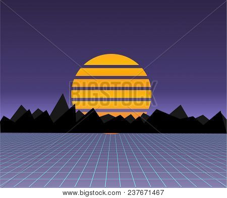 Future Retro Landscape Of The 80s. Vector Futuristic Synth Retro Wave Illustration In 1980s Posters