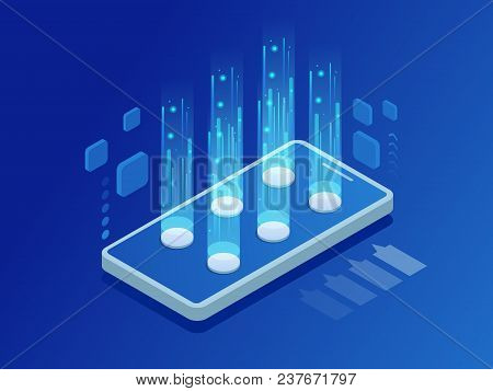 Media Technology Illustration With Mobile Phone. Network And Data Exchange. Finance, Cryptocurrency