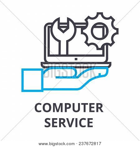 Computer Service Thin Line Icon, Sign, Symbol, Illustation, Linear Concept Vector