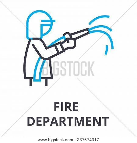 Fire Department Thin Line Icon, Sign, Symbol, Illustation, Linear Concept Vector