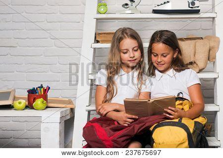 Grammar Lesson Of Little Girls At School. Grammar Book In Hands Of Small Children