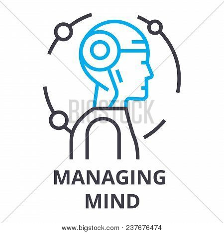 Managing Mind Thin Line Icon, Sign, Symbol, Illustation, Linear Concept Vector