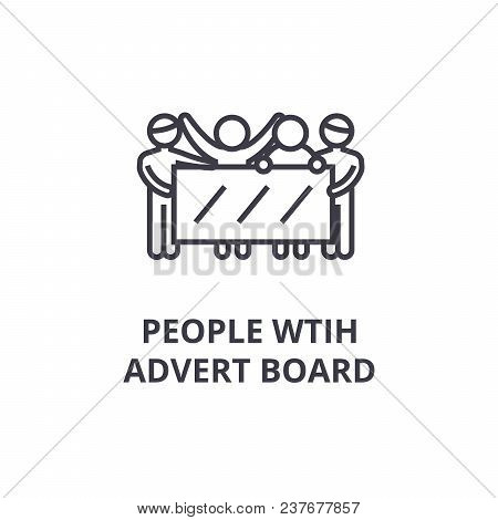 People With Advert Board Thin Line Icon, Sign, Symbol, Illustation, Linear Concept Vector