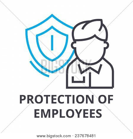 Protection Of Employees Thin Line Icon, Sign, Symbol, Illustation, Linear Concept Vector