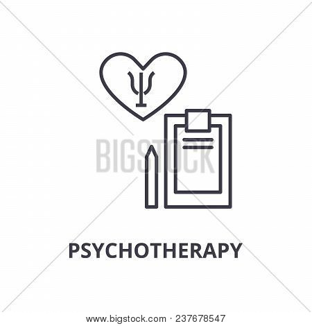 Psychotherapy Thin Line Icon, Sign, Symbol, Illustation, Linear Concept Vector