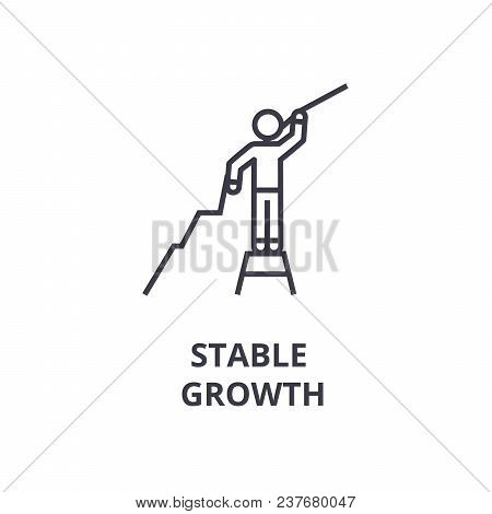 Stable Growth Thin Line Icon, Sign, Symbol, Illustation, Linear Concept Vector