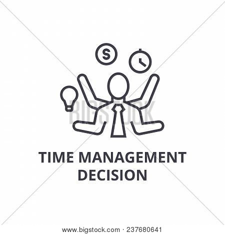 Time Management Decision Thin Line Icon, Sign, Symbol, Illustation, Linear Concept Vector