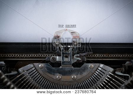 The Phrase Top Secret Typed On An Old Typewriter