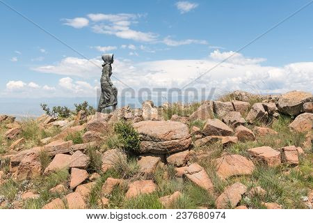 Retief Pass, South Africa - March 14, 2018: Monument Of The Kaalvoet Vrou (barefoot Woman) Where The