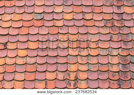 Rows Of Terracotta Clay Roof Shingles Background