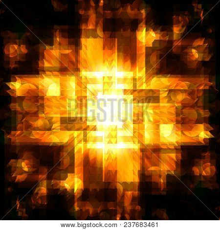 abstract golden  squares with bright circles on a dark background